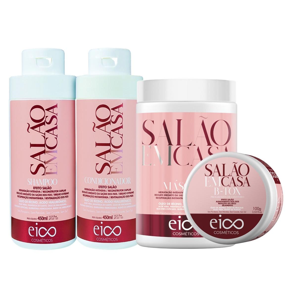 Eico Salão em Casa Kit Shampoo + Condicionador 450ml + Máscara + Btx