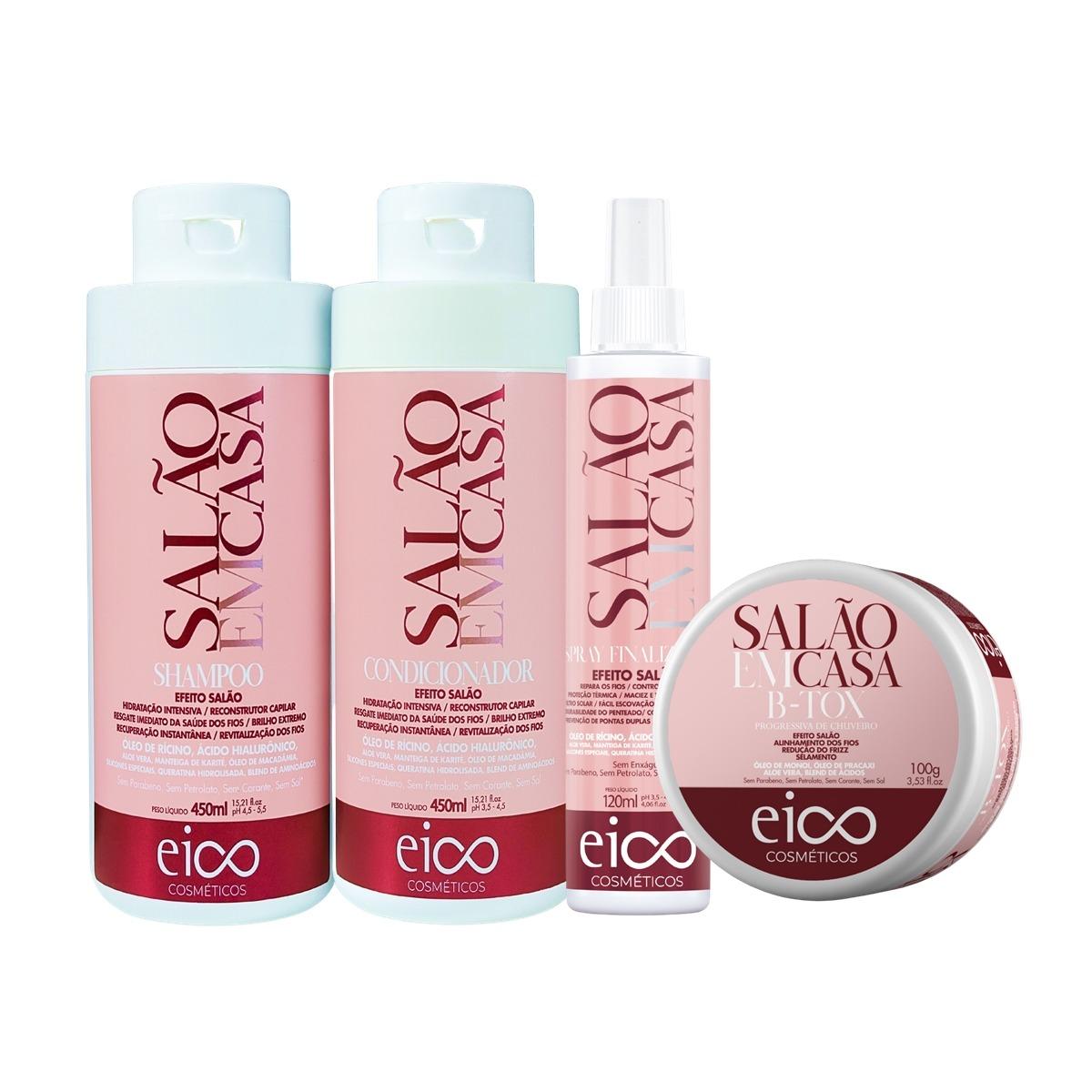Eico Salão em Casa Kit Shampoo + Condicionador 450ml + Spray + Btx
