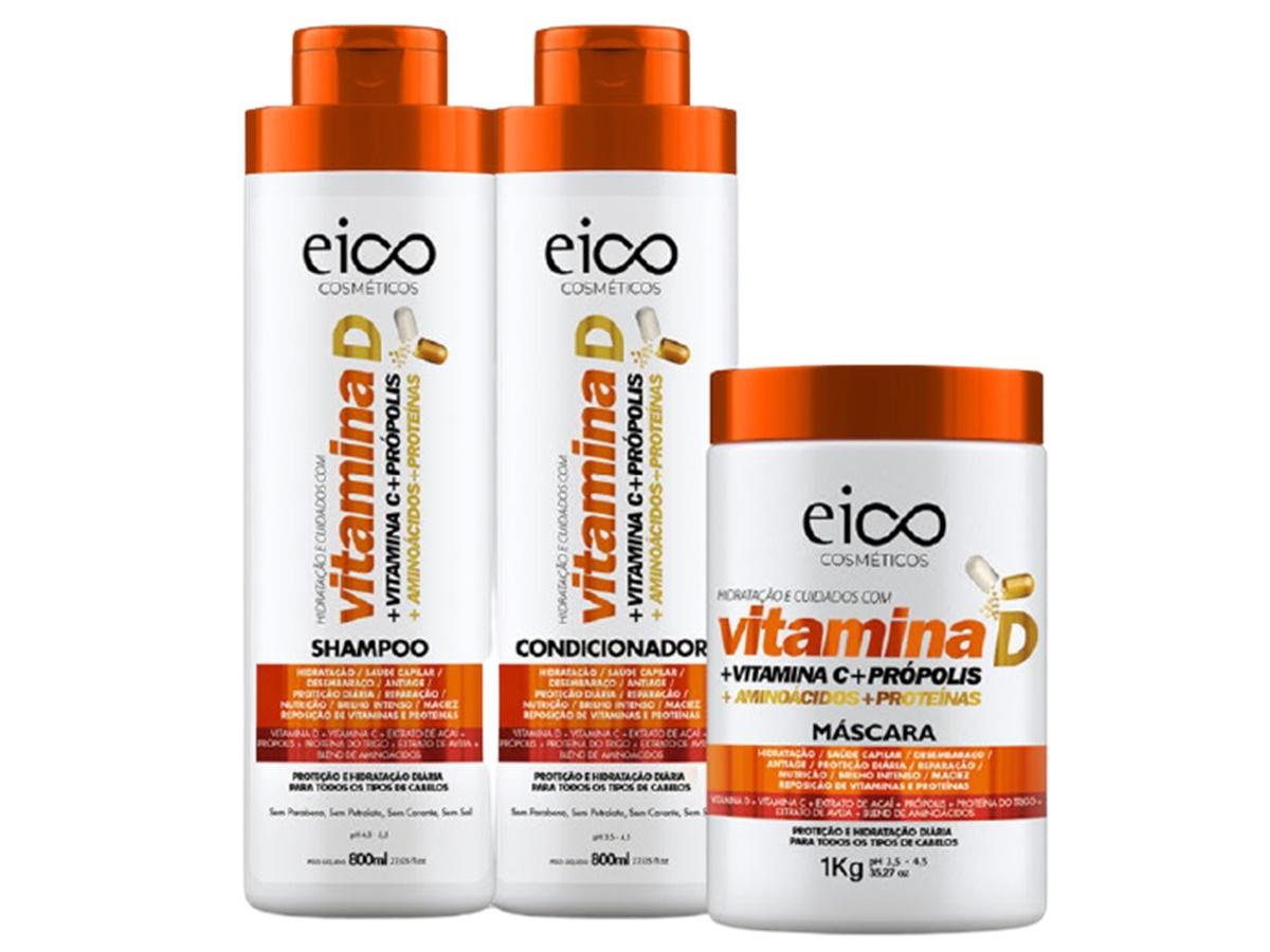 Eico Vitamina D Kit Shampoo + Condicionador + Máscara