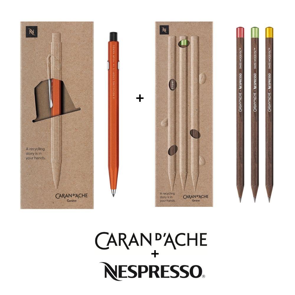 Conjunto Presente Caran d'Ache + Nespresso Lapiseira Fixpencil +3 lápis Ed. Limitada N. 4
