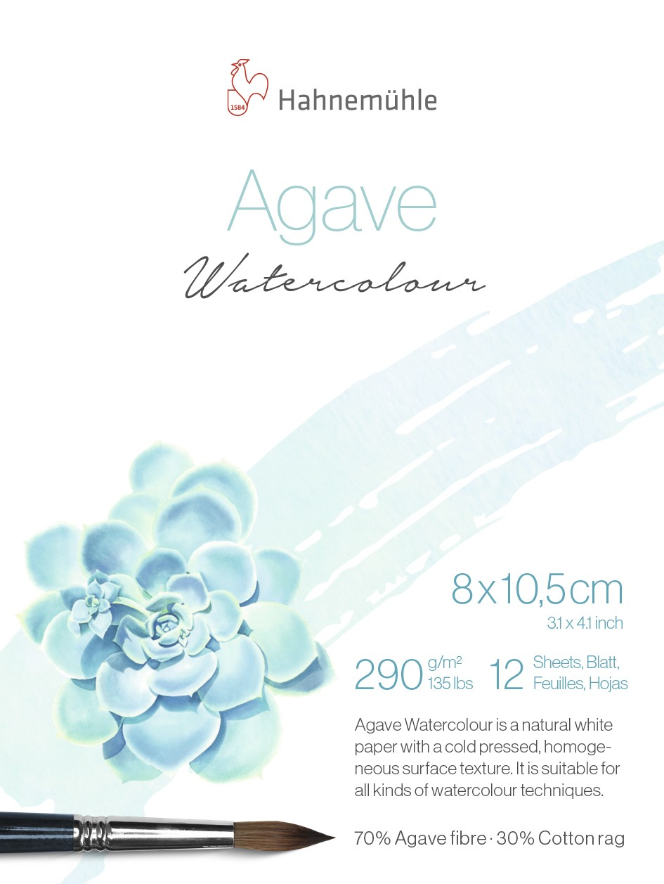 Papel Aquarela Hahnemühle Agave 8 x 10,5 cm  Textura Fina 290g Bloco 12 Folhas 10625400