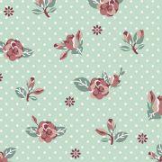 Tecido Rosas Fundo Tiffany