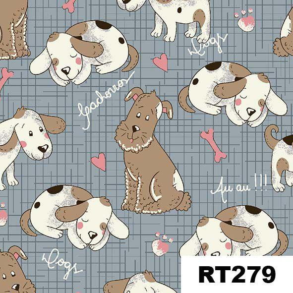 Cachorrinhos Pastel  - Tecidos Digitais