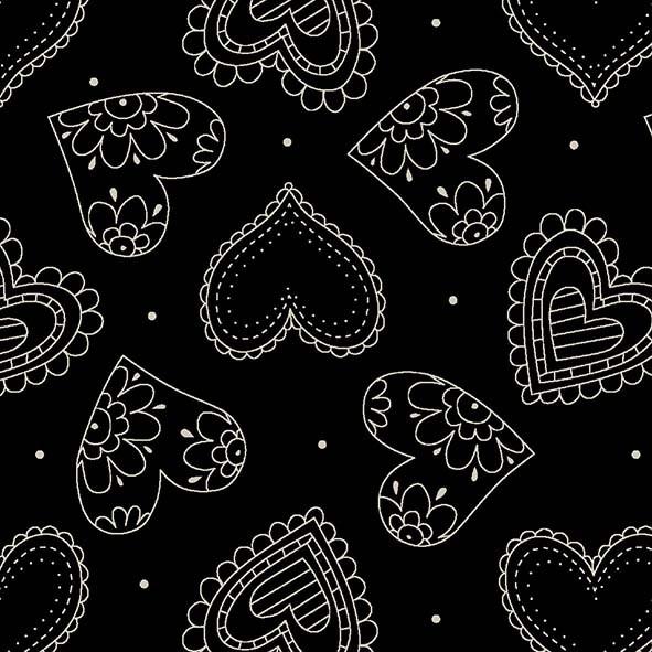 Corações Manequim Preto  - Tecidos Digitais
