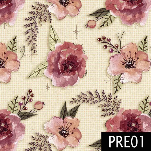 Floral Luxo Fundo Claro  - Tecidos Digitais