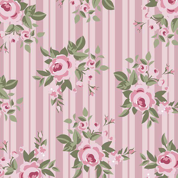 Floral Pássaros Rosa  - Tecidos Digitais