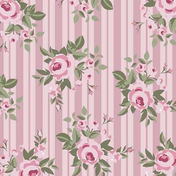 Floral Pássaros Rosa - 50cm x 75cm  - Tecidos Digitais