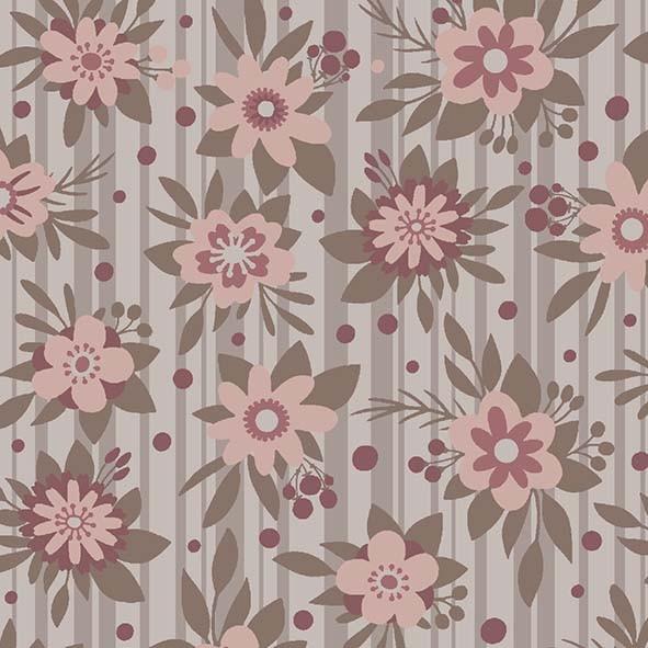 Flores Fashion Floral Marrom  - Tecidos Digitais