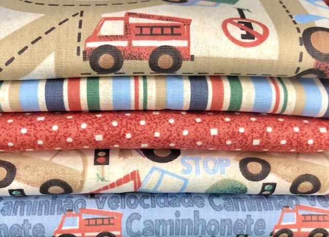 Kit Amarradinho Carrinhos Divertidos - 50cm x 150cm  - Tecidos Digitais