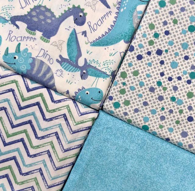 Kit Amarradinho Dinos Azul - 50cm x 150cm  - Tecidos Digitais