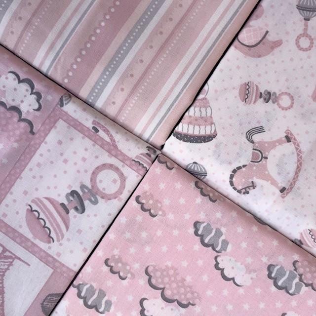 Kit Amarradinho First Toys Rosa - 50cm x 150cm  - Tecidos Digitais