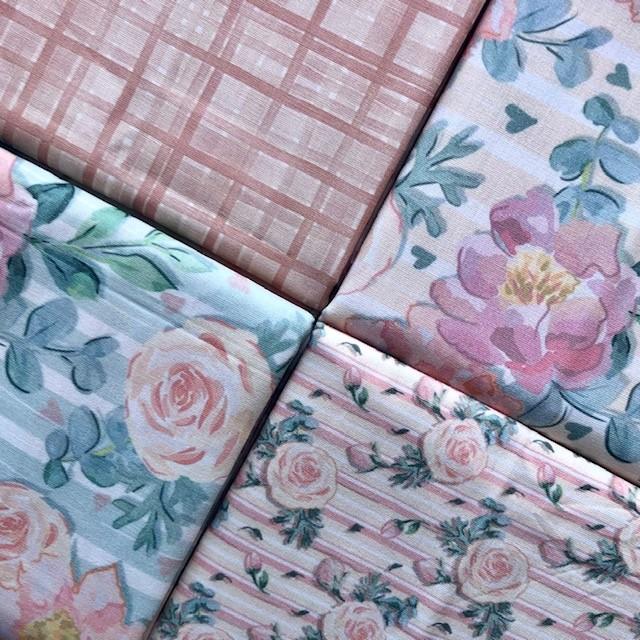 Kit Amarradinho Floral Basic Veneza - 50cm x 150cm  - Tecidos Digitais