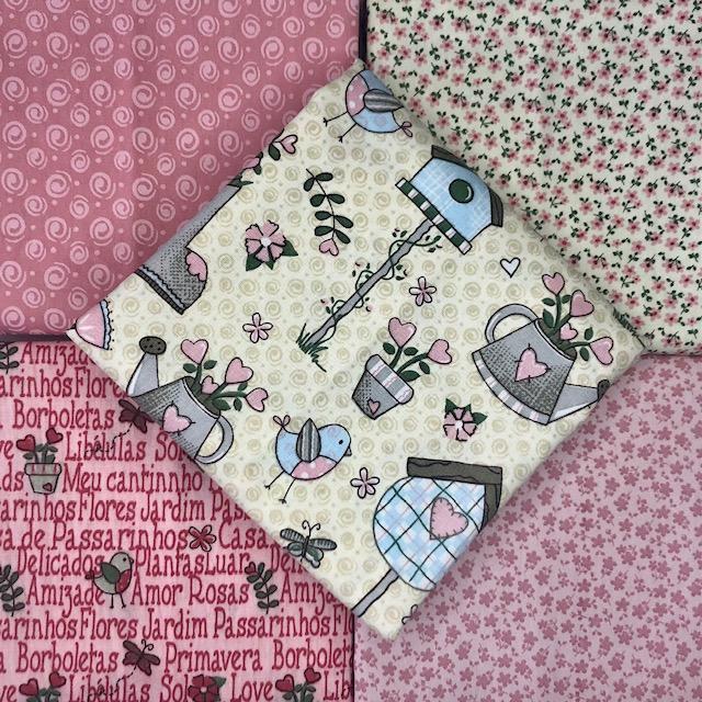 Kit Amarradinho Garden Rosa - 50cm x 150cm  - Tecidos Digitais