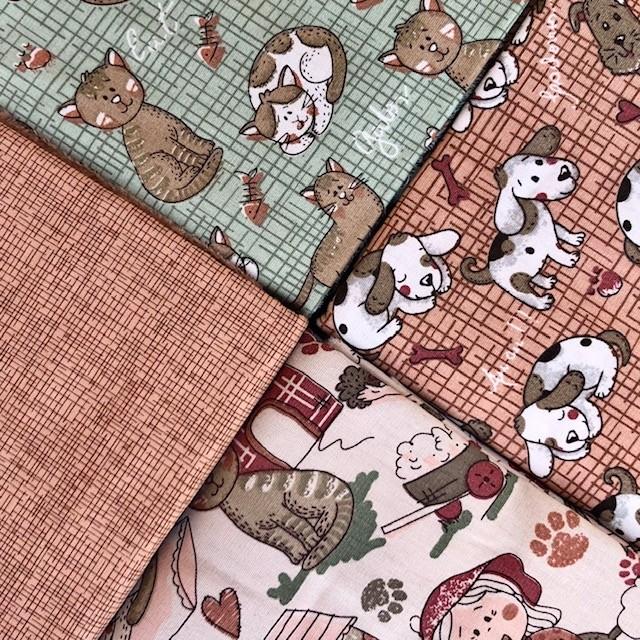 Kit Amarradinho Melhores Amigos Marrom - 50cm x 150cm  - Tecidos Digitais