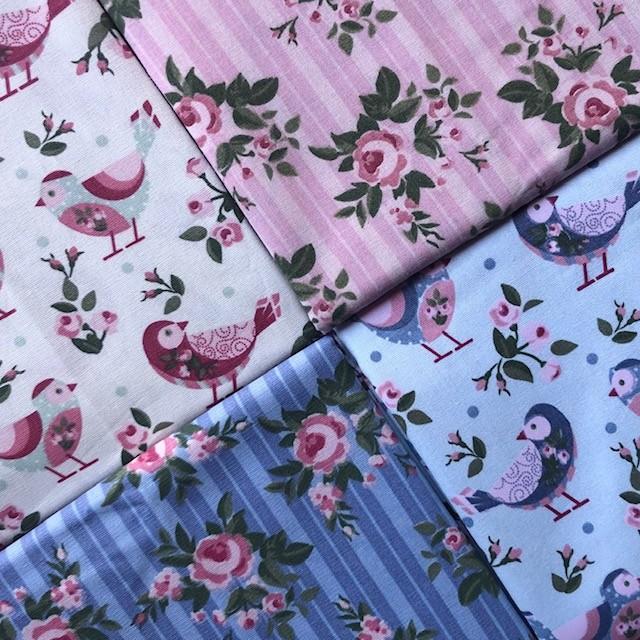 Kit Amarradinho Pássaros - 50cm x 150cm  - Tecidos Digitais