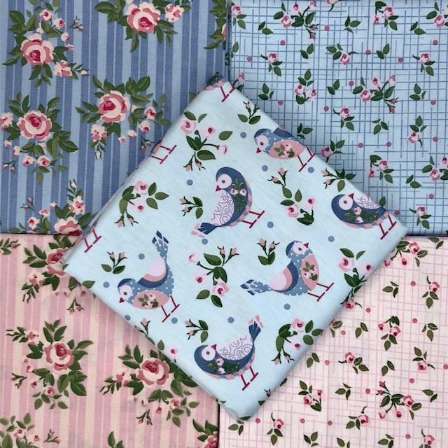 Kit Amarradinho Pássaros Azul - 50cm x 75cm  - Tecidos Digitais