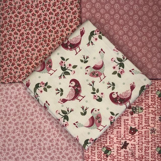 Kit Amarradinho Pássaros e Flores - 50cm x 75cm  - Tecidos Digitais