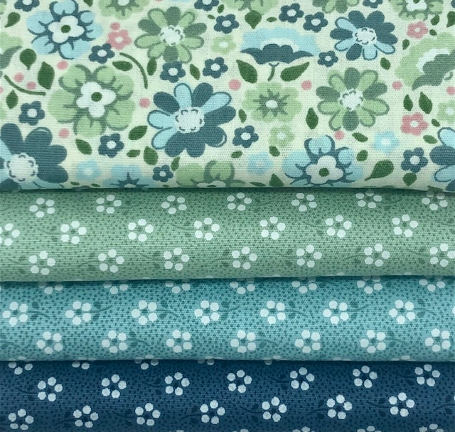 Kit Floral Turquesa e Verde - 50cm x 150cm  - Tecidos Digitais