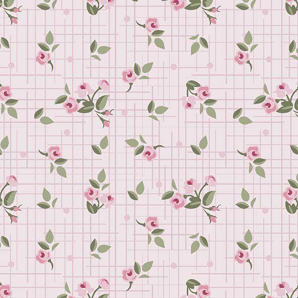 Mini Floral Pássaros  Rosa  - Tecidos Digitais