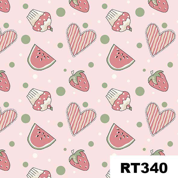 Mini Morangos e Cupcakes Rosa  - Tecidos Digitais