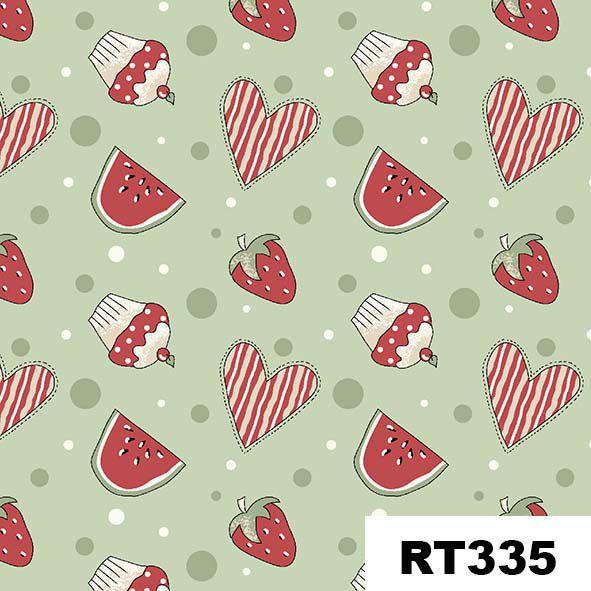 Mini Morangos e Cupcakes Verde  - Tecidos Digitais