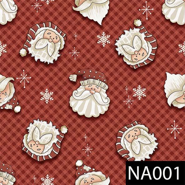 Rostos Noel Fundo Vermelho  - Tecidos Digitais