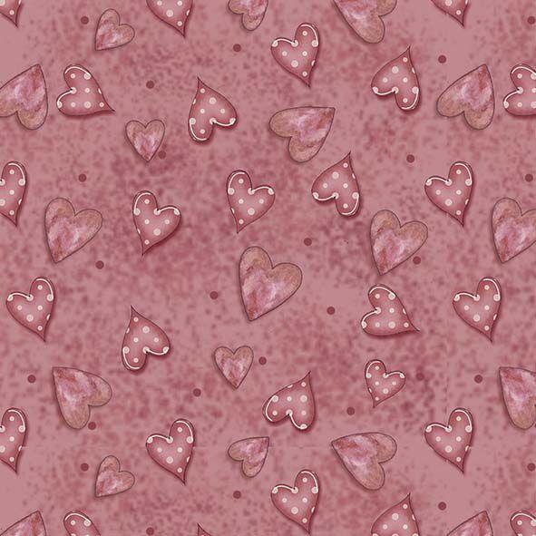 Tecido Digital Corações Goiaba  - Tecidos Digitais