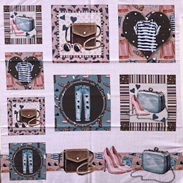 Tecido Digital Painel Roupas e Sapatos Azul e Rosa  - Tecidos Digitais