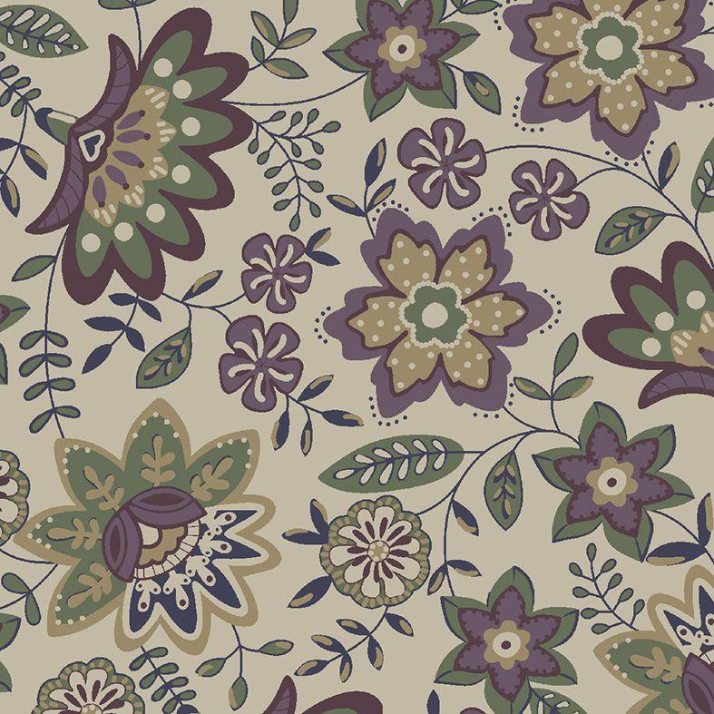 Tecido Floral Lancaster Uva  - Tecidos Digitais