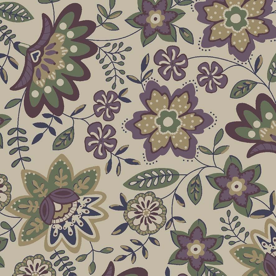 Tecido Floral Lancaster Uva - 50cm x 1,50m  - Tecidos Digitais