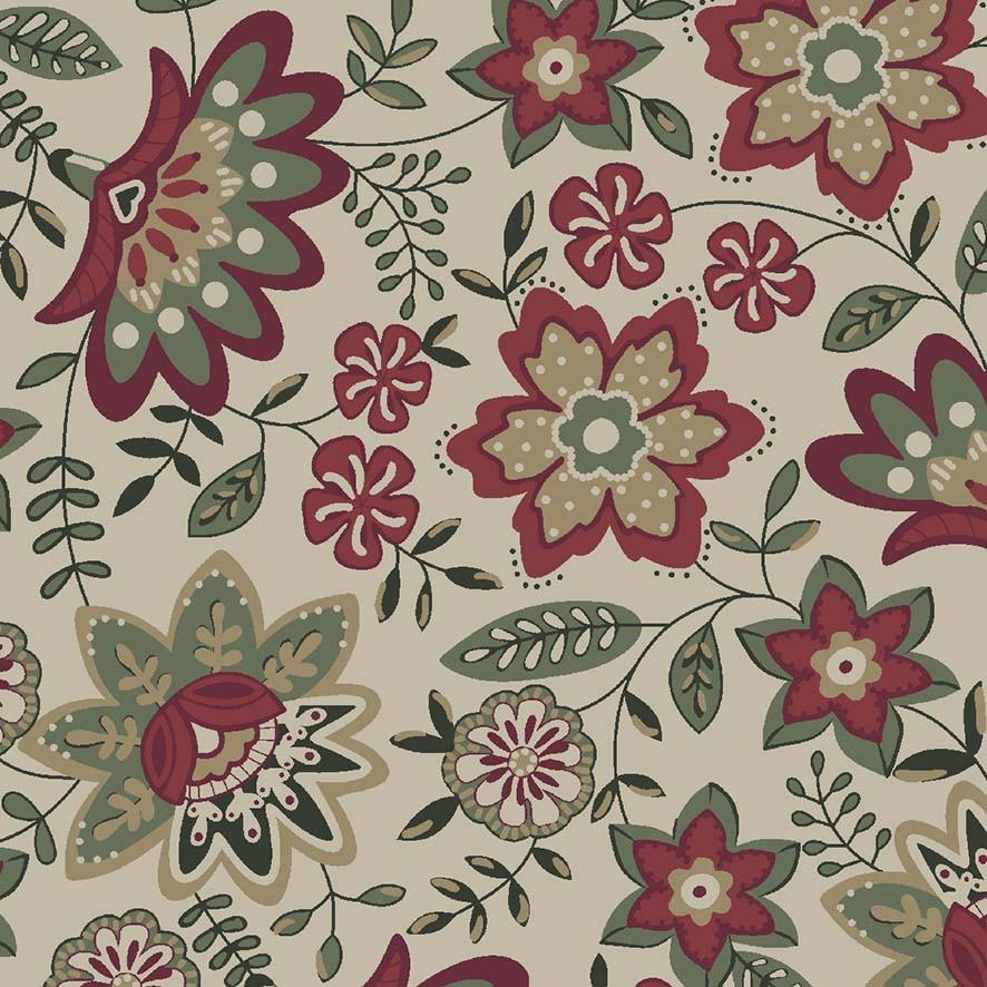 Tecido Floral Lancaster Vinho  - Tecidos Digitais