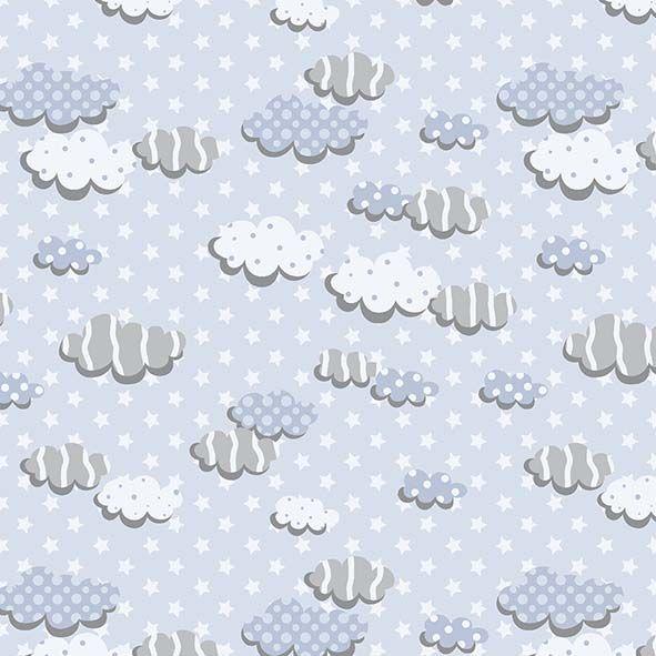 Tecido Nuvens Azul  - Tecidos Digitais