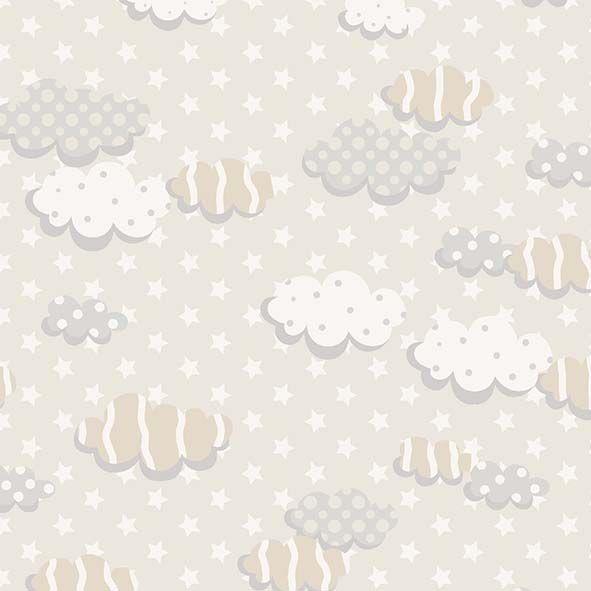 Tecido Nuvens Bêge  - Tecidos Digitais