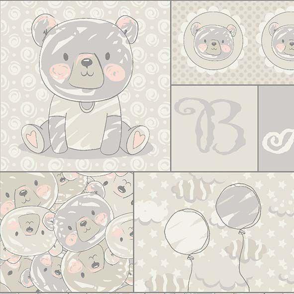 Tecido Painel Ursos e Balões   - Tecidos Digitais