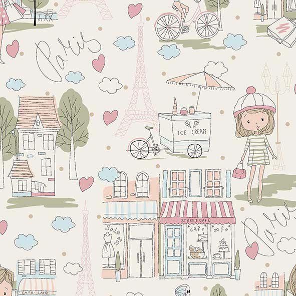 Tecido Paisagem Paris Rosa  - Tecidos Digitais