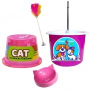 Bebedouro P/ Gato Tipo Fonte em Plástico e Comedouro 1B