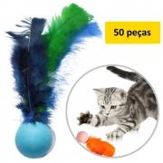 Bolinha Pula-pula Com Pena, 50 Unidades Brinquedo Gato