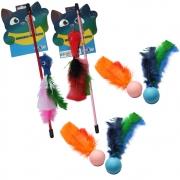 Brinquedos Para Gato Kit Vara Varinha Rato Pena Interativo