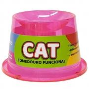 Comedouro Alto Antiformiga 250 ml Glitter Gatos - Rosa