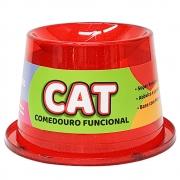 Comedouro Alto Antiformiga 250 ml Glitter Gatos - Vermelho