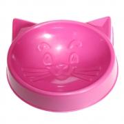 Comedouro Pequeno Cara de Gato 100 ml para Gatos - Rosa