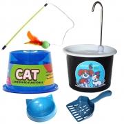Facil Font Bebedouro P/Gatos + Comedouro e Brinquedo 2E