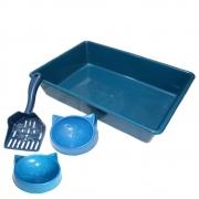 Kit Gato Bandeja Higiênica, Pá e Comedouros - Azul