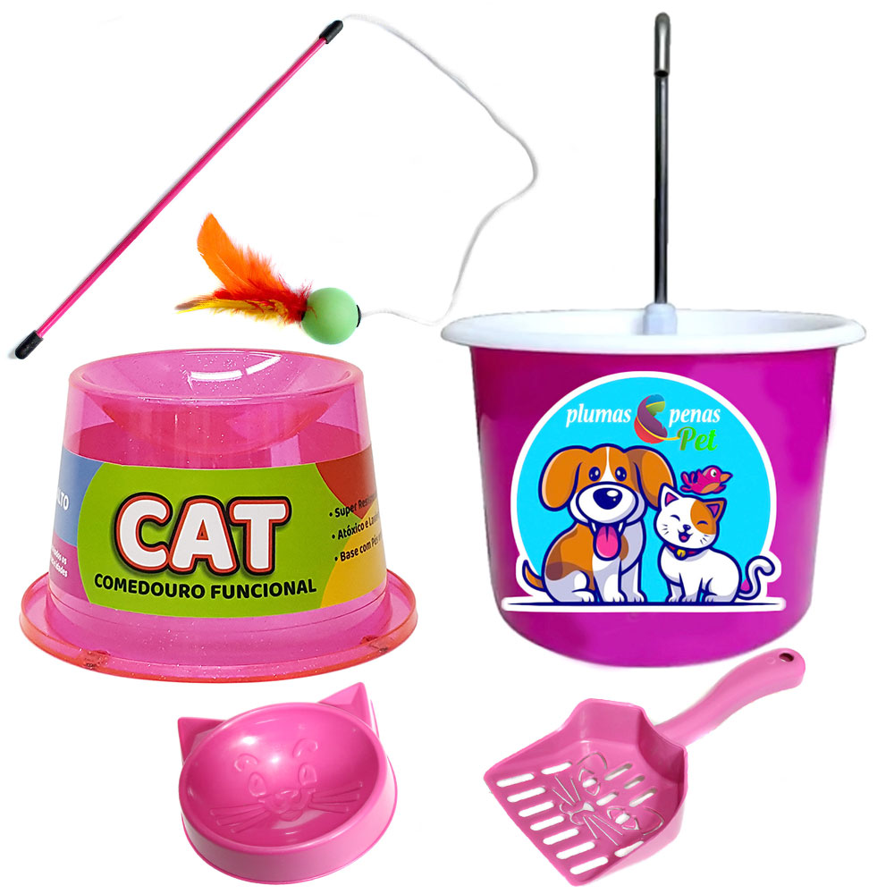 Bebedouro Colorido P/ Gato + Comedouro Ergonômico 2A