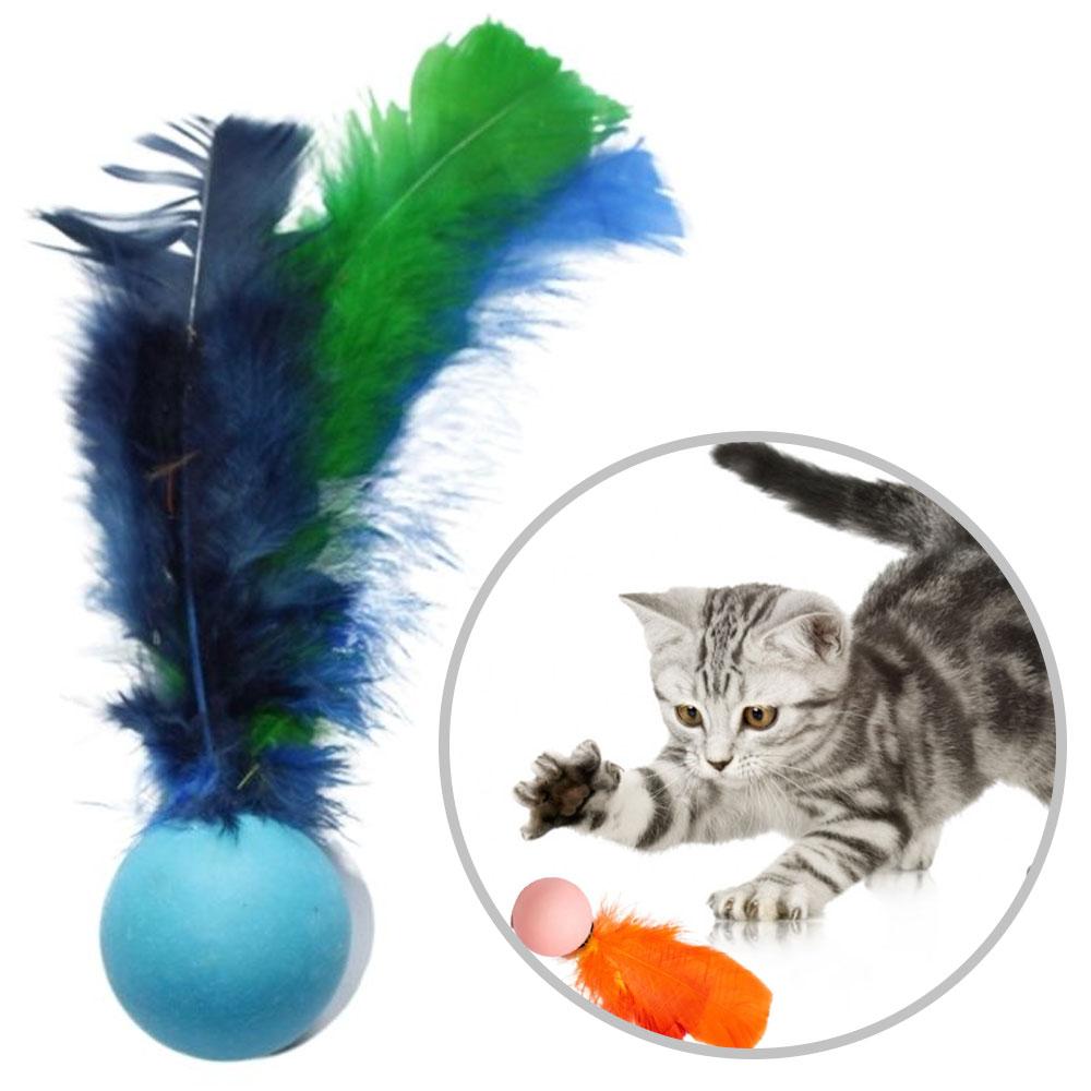 Bolinha Pula-pula Com Pena, 10 Unidades Brinquedo Gato