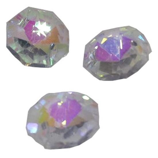 Castanha Cristal Lustre Octogonal Vidro 14mm 2 furos Pacote c/100un