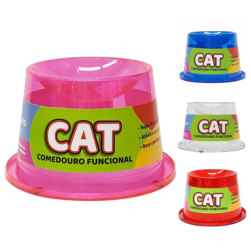 Comedouro 250 ml Antiformiga Gatos Alto Glitter