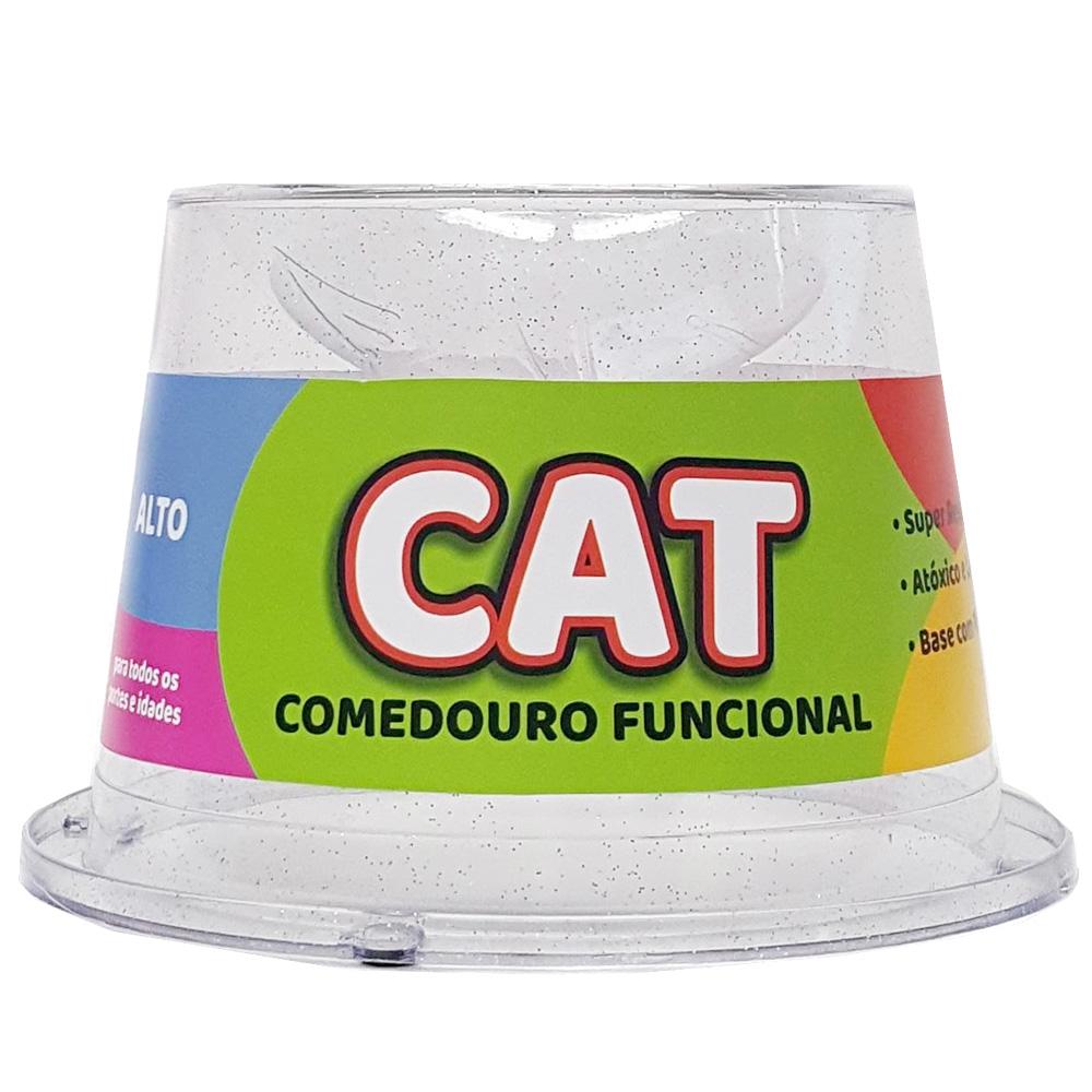 Comedouro Alto Antiformiga 250ml Gliter Gatos - Transparente