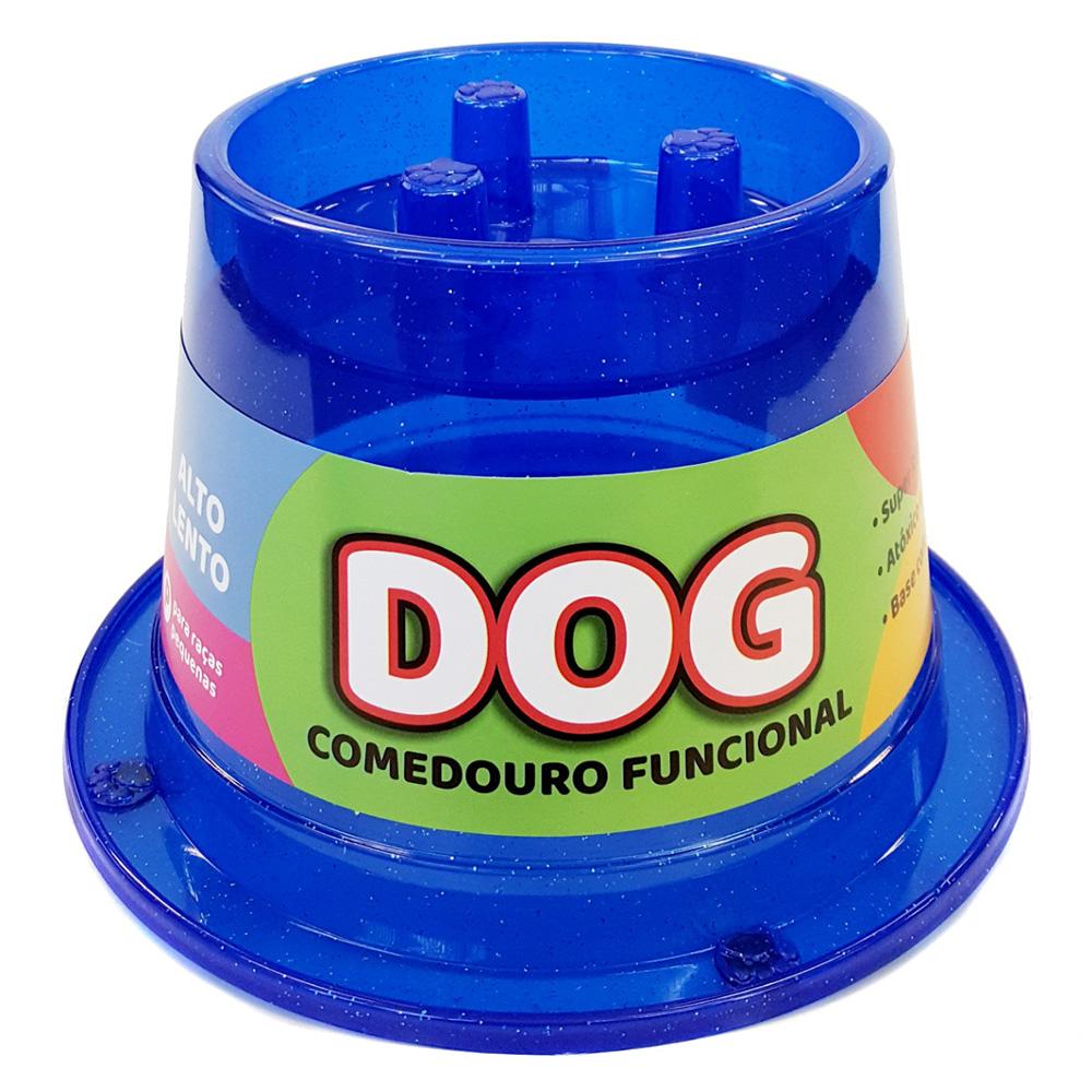 Comedouro Alto Lento Antiformiga 250 ml Glitter Cães - Azul