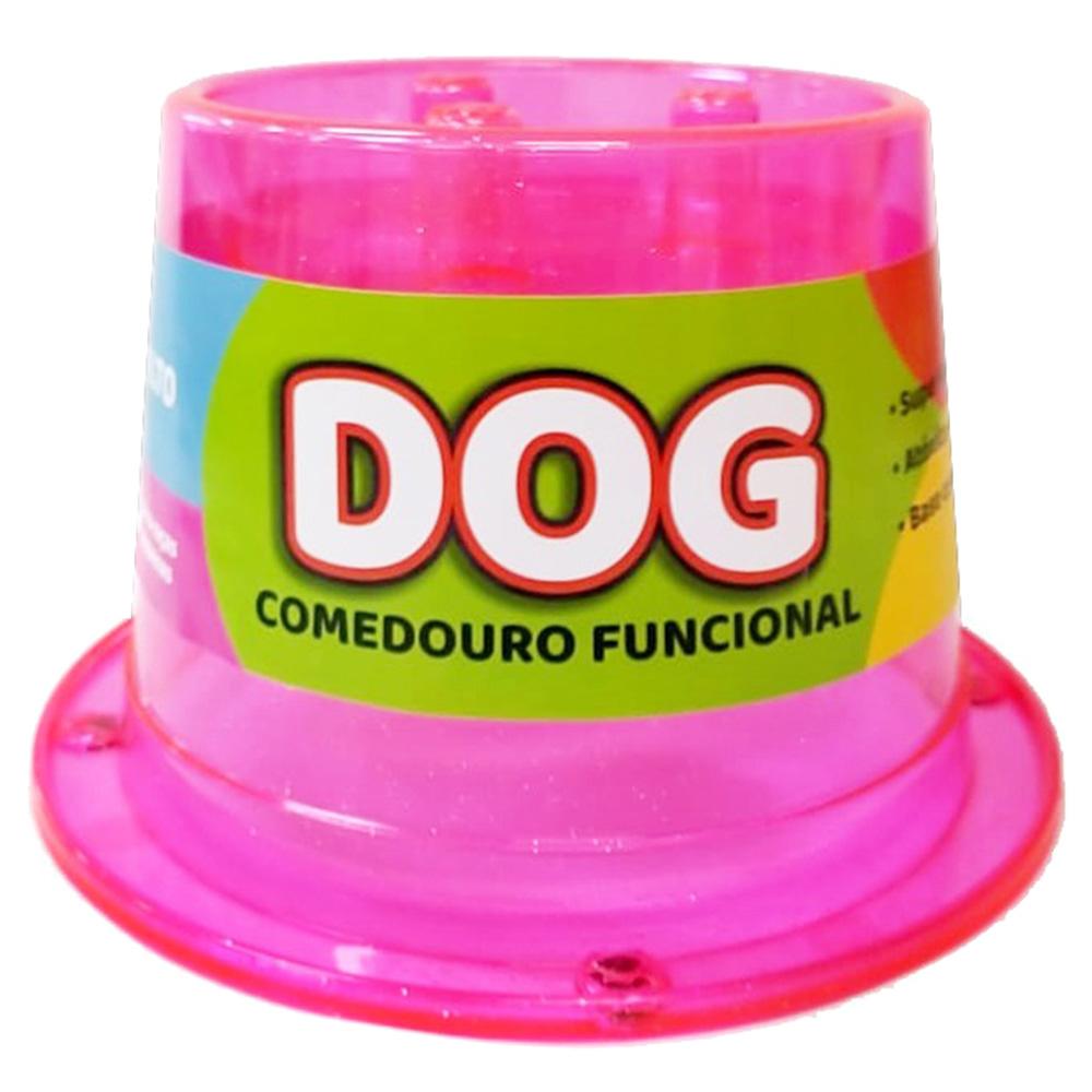 Comedouro Alto Lento Antiformiga 250 ml Glitter Cães - Rosa